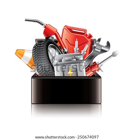 Auto parts box isolated on white photo-realistic vector illustration - stock vector