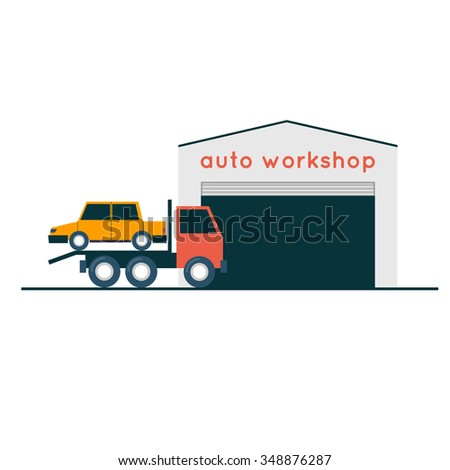 Auto repair. Flat style vector illustration - stock vector
