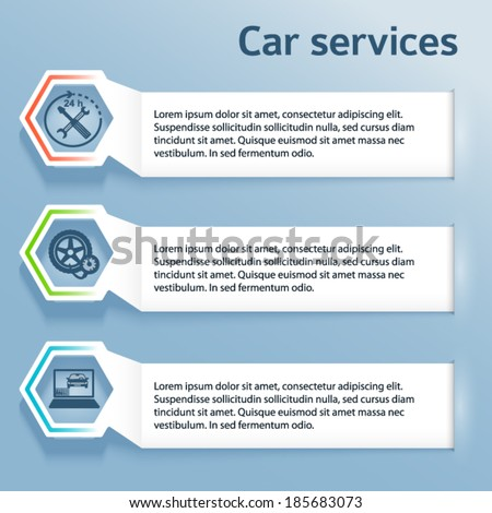 Auto service and car wash background with icons design elements. Modern business presentation template for car repair newsletter. Vector illustration eps 10 can be used for brochure layout, web banner - stock vector