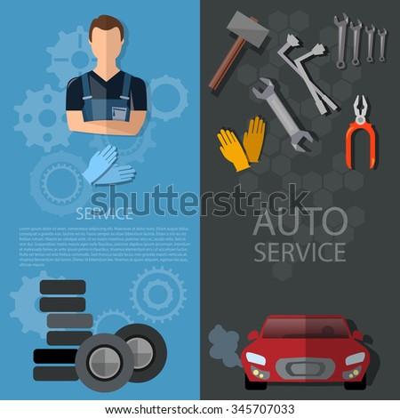 Auto service banners car repair auto mechanic tire service oil change garage technical inspection  - stock vector