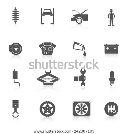 Auto service black icon set with automobile battery car parts transport service symbols isolated vector illustration - stock vector