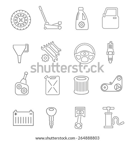 Auto service car maintenance and tuning outline icons set isolated vector illustration - stock vector