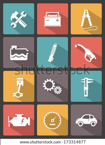 Auto service icons - stock vector