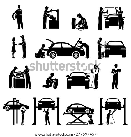 Auto service icons black set with mechanic and cars silhouettes isolated vector illustration - stock vector