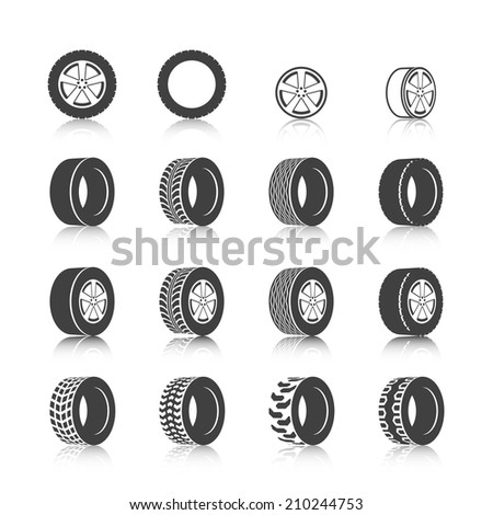 Auto service shop wheels disks and tires construction check montage replacement black  icons set isolated vector illustration - stock vector