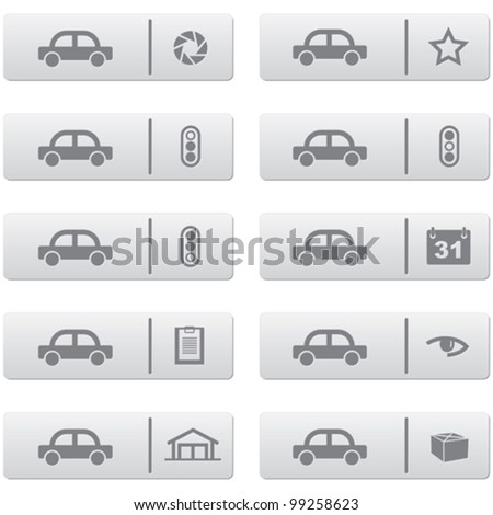 auto service signs and icons over grey plastic buttons set for web design and high quality print - stock vector