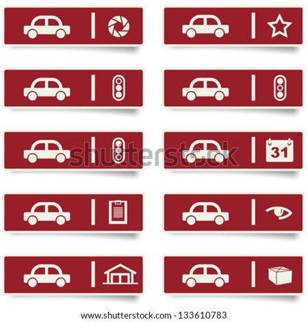 auto service stickers and icons set for web design and high quality print. more stickers are available - stock vector