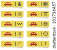 auto service stickers with many-colored icons set for web design and high quality print - stock vector
