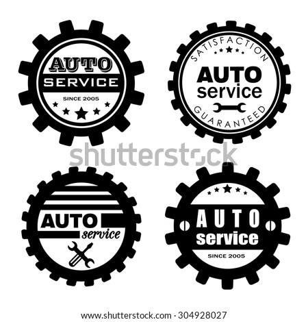 Auto service vector badges set. - stock vector