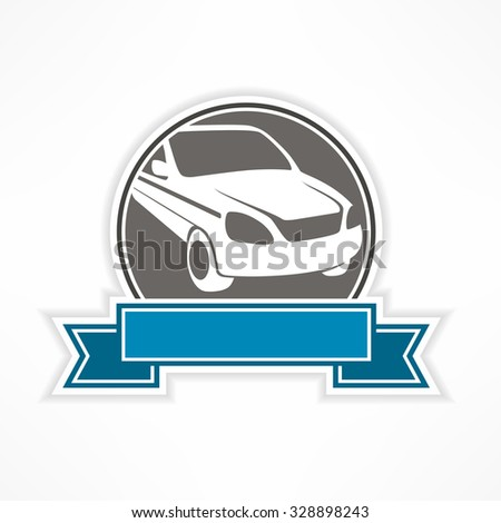 Auto sign in round with blue ribbon on white, vector illustration - stock vector