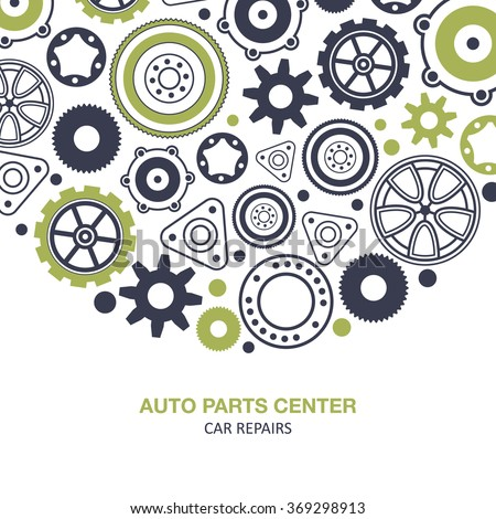 Auto spare parts and gears banner on white background - stock vector