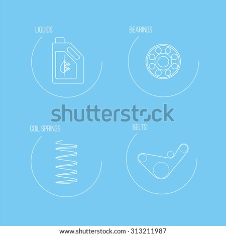 Auto spare parts icons Set 2 of 5. White linear vector icons for website on a blue background  - stock vector