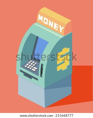 auto teller machine. Flat vector illustration - stock vector