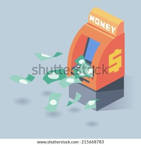 auto teller machine. Flat vector illustration - stock vector