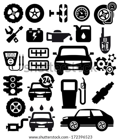 Auto vector icons set on gray - stock vector