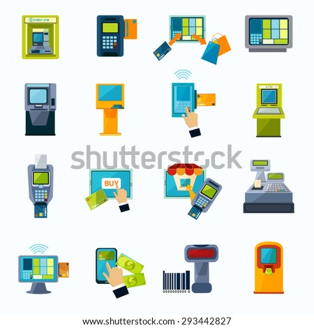 Automated payment machine flat icons set with bank credit card money withdrawal system abstract isolated vector illustration - stock vector