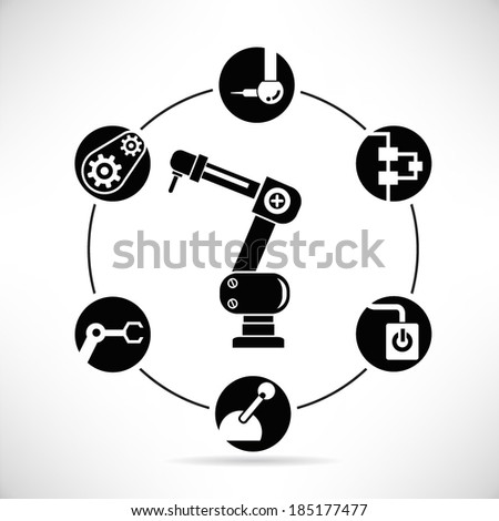 automation and industrial robot diagram, info graphic  - stock vector