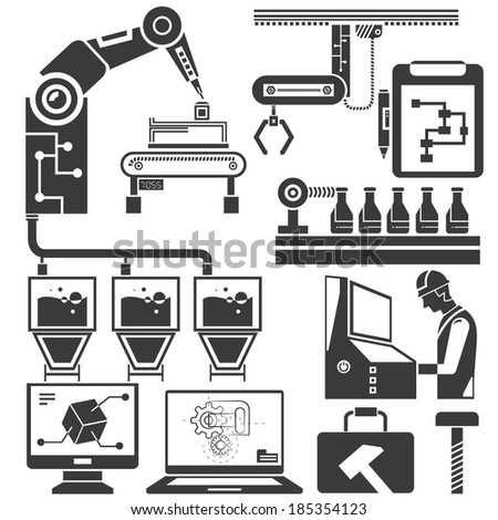 automation in production line and industrial engineering management icons set - stock vector