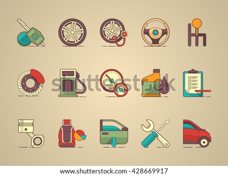 automobil icon set, vector icons - stock vector