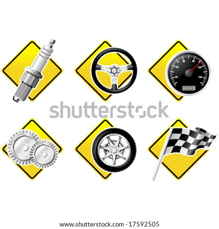 Automobile and Racing icons - part two - stock vector