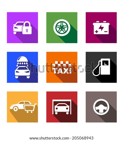 Automobile and service flat icons or web buttons with security, wheel, battery, car wash, taxi, fuel pump, shopping, garage and steering wheel - stock vector