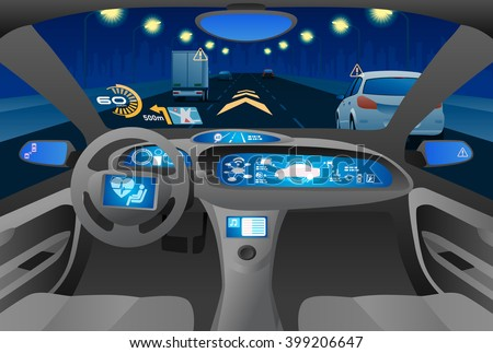 Automobile cockpit, various information monitors and head up displays. night road as seen from the car. autonomous car, driverless car, vector illustration - stock vector