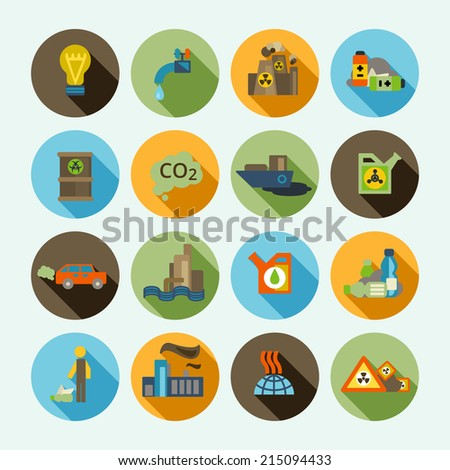 Automobile emission and oil refinery waste thermal diffuse air pollution solid shadow icons set isolated vector illustration - stock vector