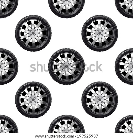 Automobile wheel seamless pattern with a tyre on a spoked alloy rim in a repeat motif in square format - stock vector
