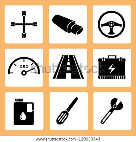 automotive, auto car service icons, car parts icons set - stock vector