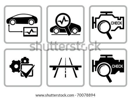 Automotive diagnostic repair icons set. All white areas are cut away from icons and black areas merged. - stock vector