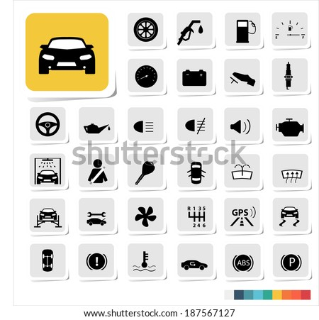 Automotive icon set - stock vector