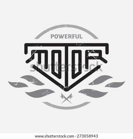 Automotive, motorcycle badge with fire and bolts. Vector monochrome Logo, Sign or label. Original lettering. - stock vector