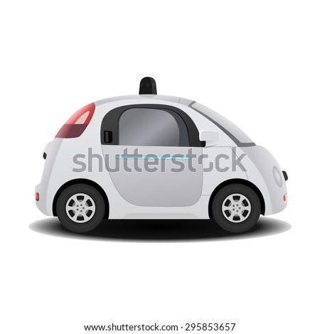 Autonomous self-driving (drive) driverless vehicle 3D render - stock vector