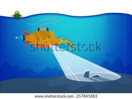 Autonomous underwater vehicle or AUV exploring the depths of the ocean floor. Vector Eps10 Illustration. - stock vector