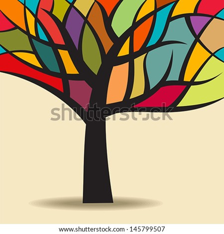 autumn abstract tree  - stock vector