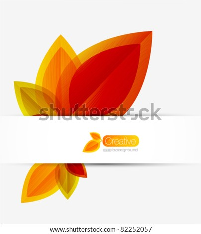 Autumn abstract vector background. Orange leaves - stock vector