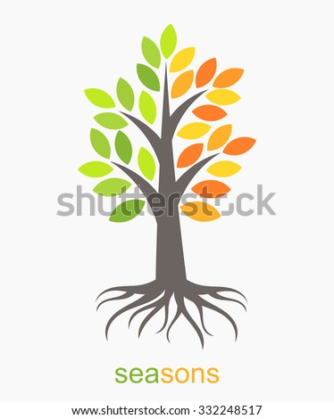 Autumn and spring seasons tree. Vector illustration - stock vector