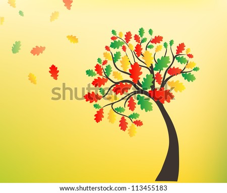 Autumn background, oak tree with falling leaves - stock vector