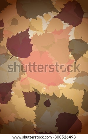 Autumn background of different colors abstract leaves with dark vignette - vector illustration - stock vector