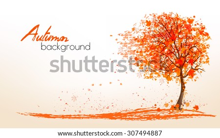 Autumn background with a tree and golden leaves. Vector. - stock vector