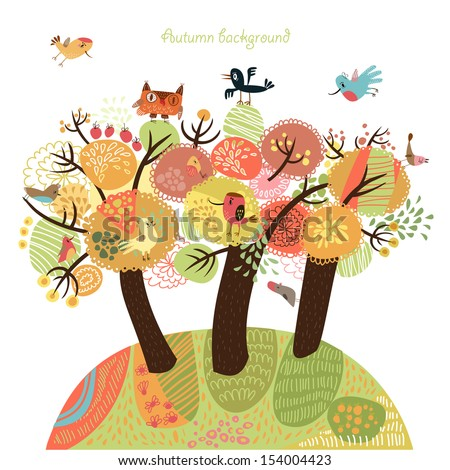 Autumn background with birds - stock vector