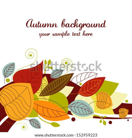 Autumn background with colored leaves - stock vector