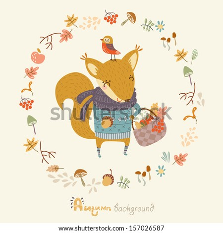 Autumn background with funny squirrel , - stock vector