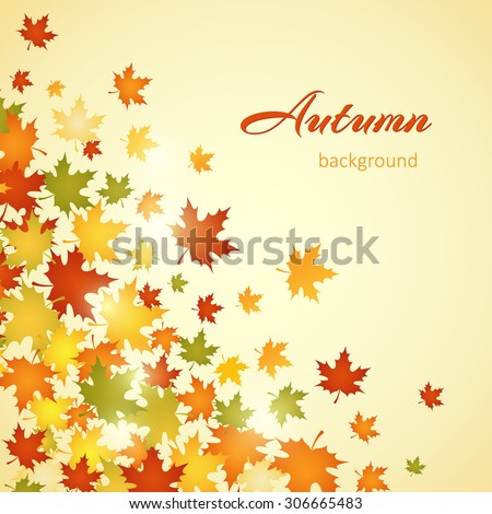 Autumn background with leaves. Vector illustration - stock vector