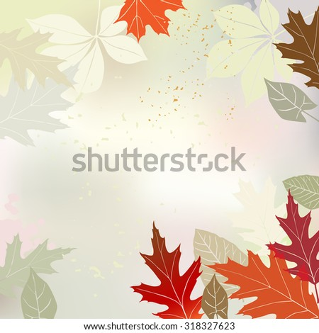 Autumn background with multicolored leaves and a space for a text - vector illustration - stock vector