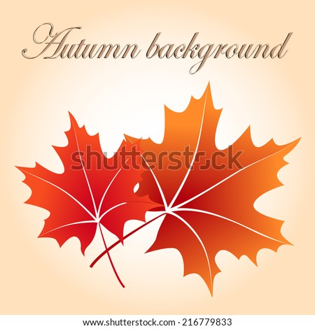 Autumn background with red maple leaves - stock vector