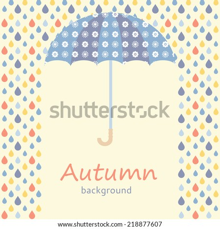 Autumn background with umbrella and raindrops - stock vector