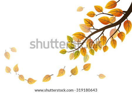 Autumn branch with falling leaves on white background - stock vector