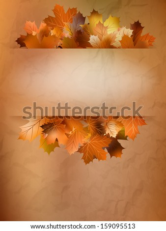 Autumn card of colored leafs. And also includes EPS 10 vector - stock vector