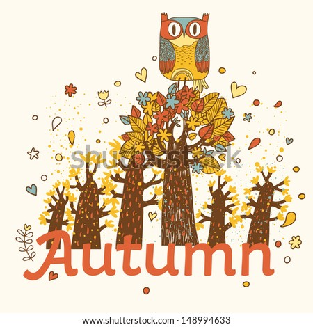 Autumn childish card in vector. Cartoon forest in yellow colors with cute owl  - stock vector